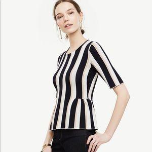 Ann Taylor Peplum Striped Sweater Size XS